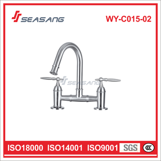 Double Handle Bathroom Basin Water Tap Made of Stainless Steel